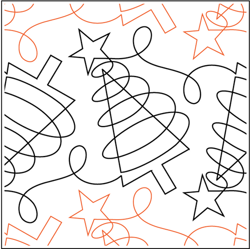 """Merry and Bright 9.75"""" Pantograph / E2E Quilting Design on Paper"""