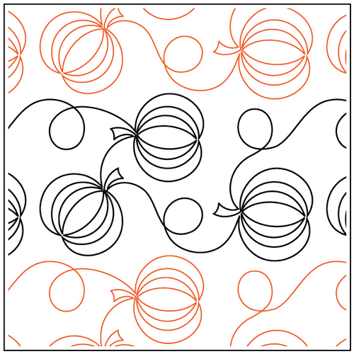 """Pumpkin and Loops 9.5"""" Pantograph / E2E Quilting Design on Paper"""
