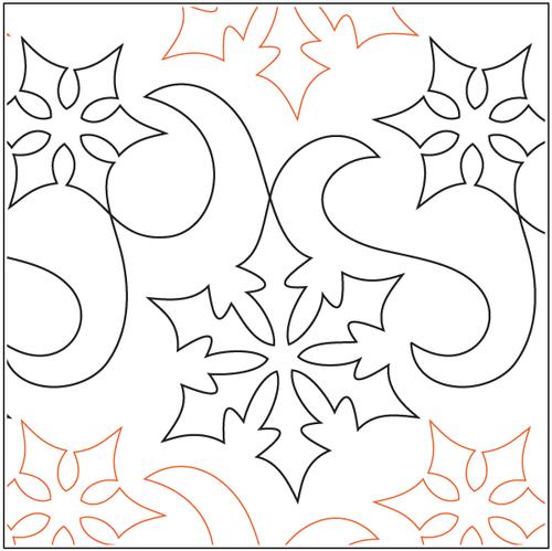 "Snow Winds 12"" Pantograph / E2E Quilting Design on Paper"