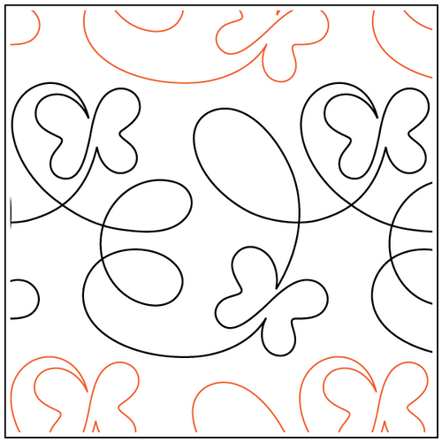 """Take Flight - Butterfly 8.5"""" Pantograph / E2E Quilting Design on Paper"""