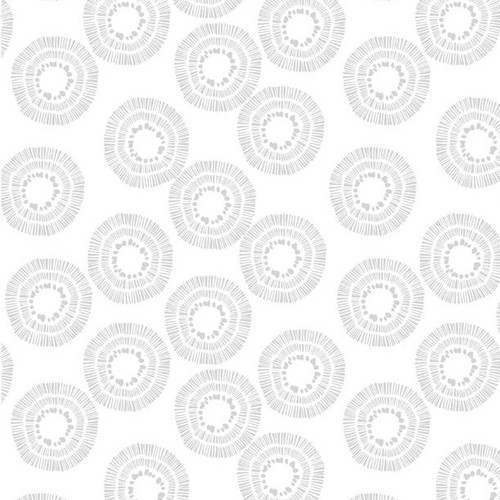 """Circle Burst White on White - 108"""" Cotton Wide Back Quilt Fabric"""