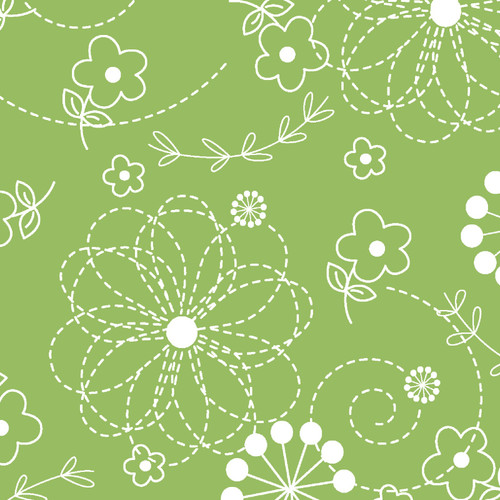 """Doodles Green 108"""" Cotton Wide Back Quilt Fabric by KimberBell Designs"""