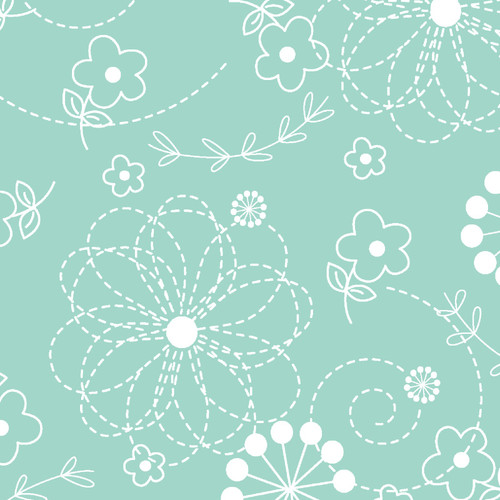"""Doodles Teal 108"""" Cotton Wide Back Quilt Fabric by KimberBell Designs"""