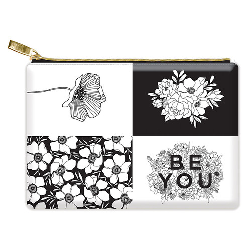 """""""Be You"""" Floral Glam Bag Zipper Pouch - 8"""" x 5.5"""""""