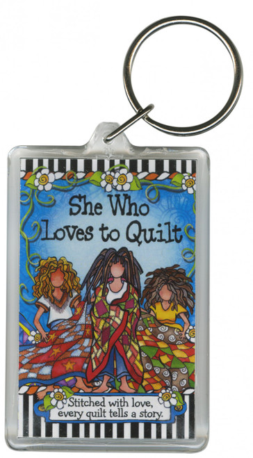 """""""She Who Loves To Quilt"""" Keychain by Suzy Toronto"""