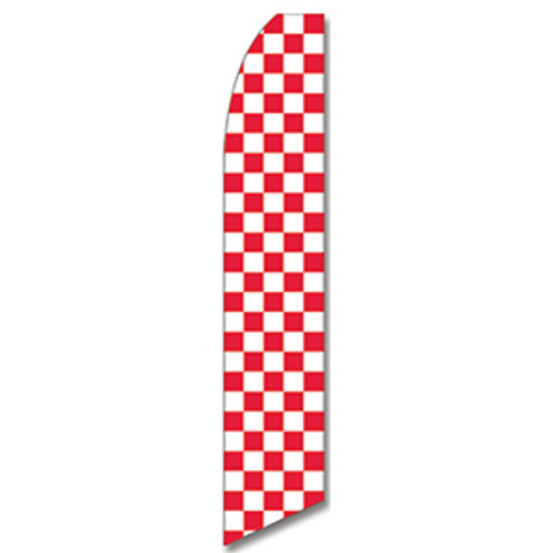 Red and White Checkered Feather Flag