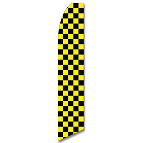 Yellow and Black Checkered Feather Flag