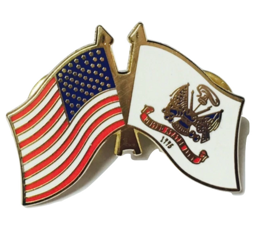 Army/ US Flag Lapel Pin (White)