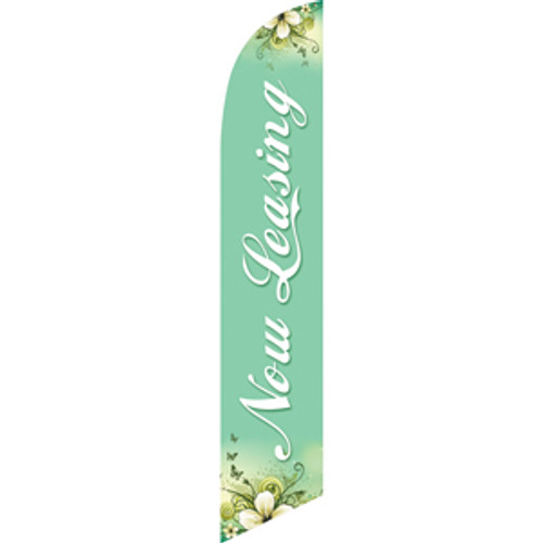 Now Leasing (aqua background) Semi Custom Feather Flag Kit