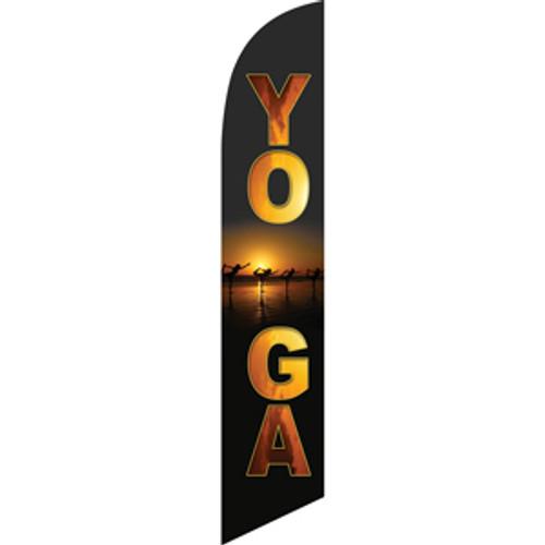 Yoga (black background, sunset) Semi Custom Feather Flag Kit