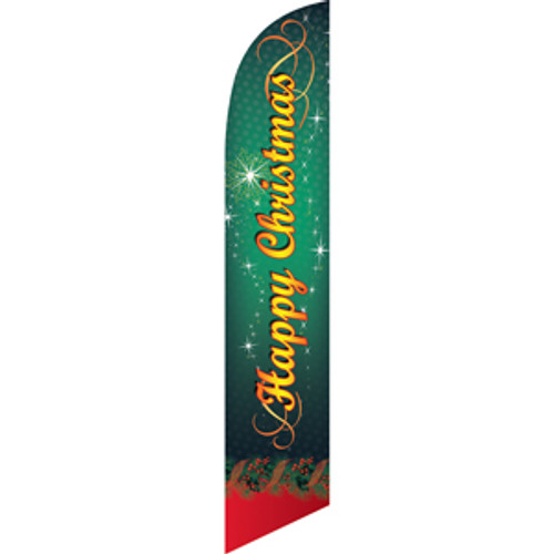 Happy Christmas (green background) Semi Custom Feather Flag Kit