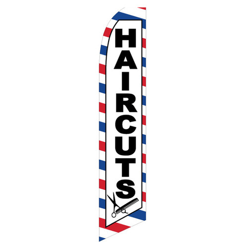 Haircuts Feather Flag red white blue