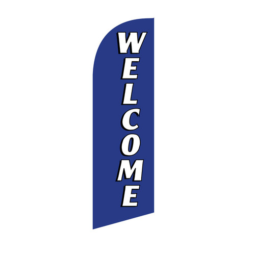 Welcome 6ft Feather Flag (blue)