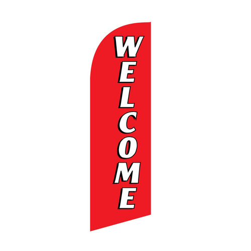 Welcome 6ft Feather Flag (red)