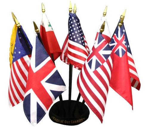 Historical Flags Of Our Country 10 Flag Set with Base