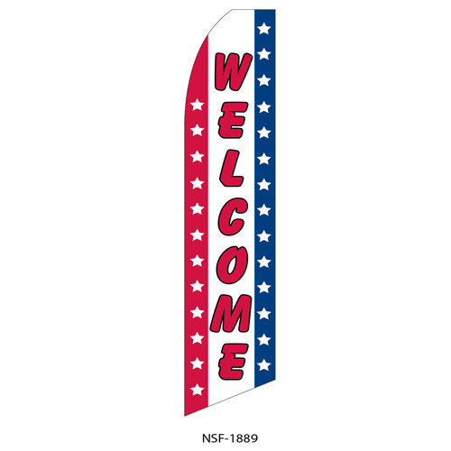 Welcome (red letters) Feather Flag