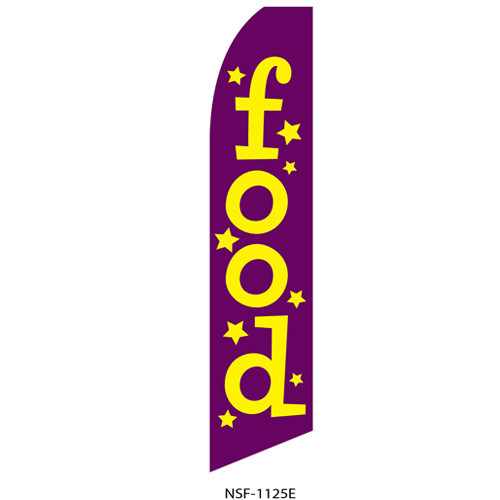 Food (purple background) Feather Flag