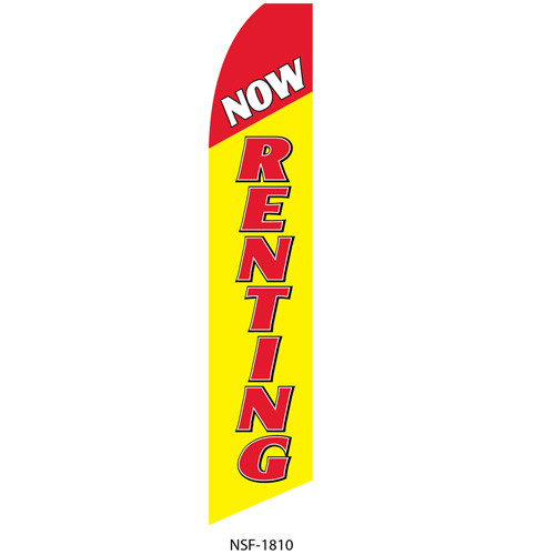 Now Renting (yellow background) Feather Flag