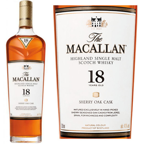 The Macallan 18 Year Old Sherry Cask Highland Single Malt Scotch 750ml