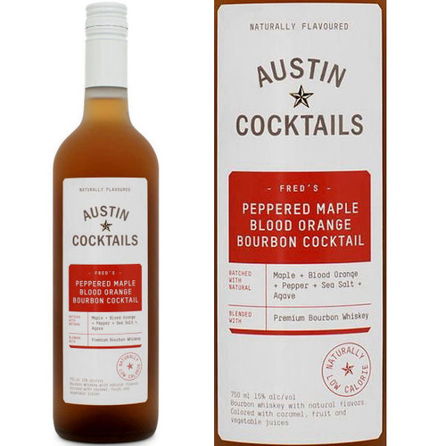 Austin Cocktails Peppered Maple Blood Orange Bourbon Cocktail 750ml