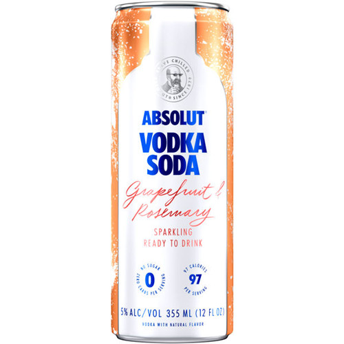 Absolut Vodka Soda Grapefruit & Rosemary Sparkling Ready To Drink Cocktail 355ml 4-Pack