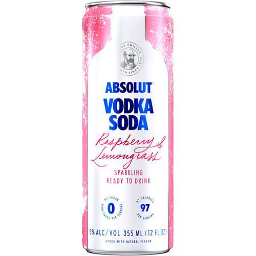 Absolut Vodka Soda Raspberry & Lemongrass Sparkling Ready To Drink Cocktail 355ml 4-Pack