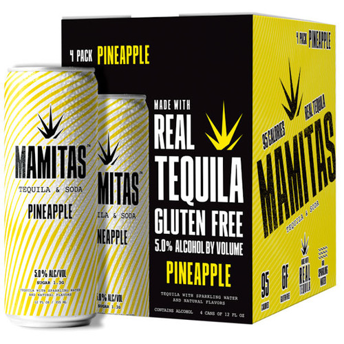 Mamitas Pineapple Tequila & Soda Ready To Drink 12oz 4 Pack Cans