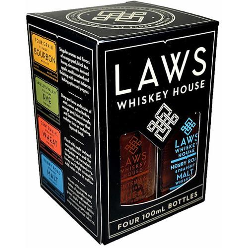 Laws Whiskey House Quad Set Bourbon Whiskey 4-Pack 100ml 750ml