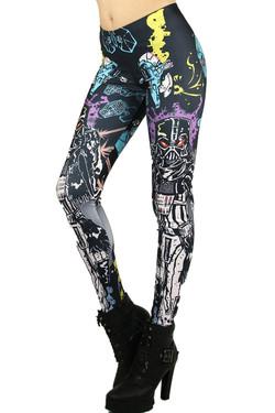 Left side leg image of Wholesale Premium Graphic Cartoon Vader Leggings