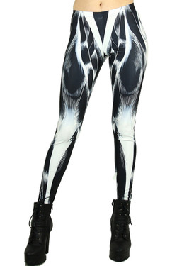 Front side image of Wholesale Graphic Print Black Muscle Leggings