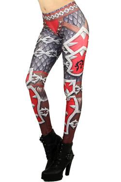 Left side leg image of Wholesale Graphic Print Red Steel Armor Leggings