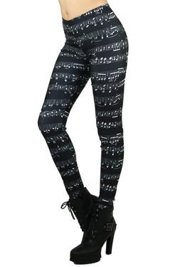 Left Side Image of Wholesale Premium Graphic Musical Leggings