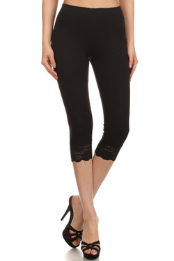 Front image of Black Wholesale USA Cotton Capri with Lace Detail