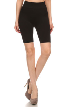Front side  image of Wholesale Luxe Nylon Spandex Biker Shorts