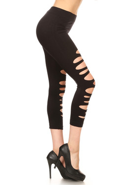 Wholesale Multi Slashed Seamless Capri Leggings