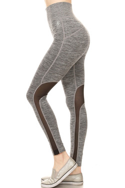 Wholesale High Waisted Heather Gray Mesh Workout Leggings