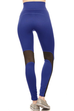 Wholesale High Waisted Blue Mesh Workout Leggings
