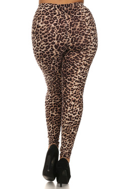 Back side image of Wholesale Buttery Soft Extra Plus Size Cheetah Leggings