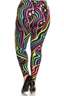 Back side image of Wholesale Buttery Soft Plus Size Groovy Rainbow Leggings - Extra Plus