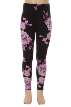 Wholesale Buttery Soft Purple Jumbo Rose Kids Leggings