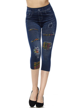 Wholesale Plaid Patch Faux Denim Capris