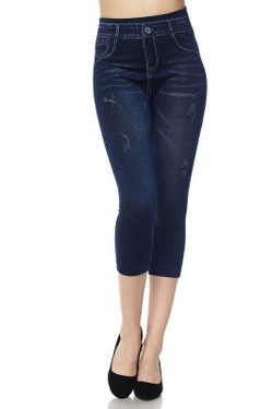 Wholesale Everyday Faux Denim Capris