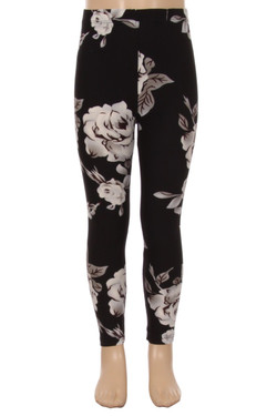 Wholesale Buttery Soft Jumbo White Rose Kids Leggings