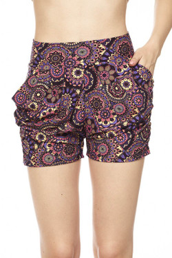 Wholesale Buttery Soft Delicious Purple Mandala Harem Shorts
