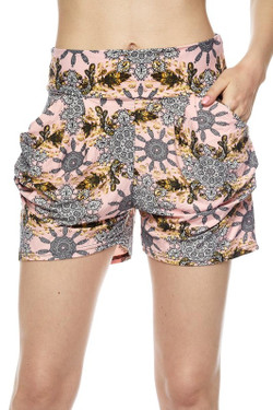 Wholesale Buttery Soft Gorgeous Pink Motif Harem Shorts