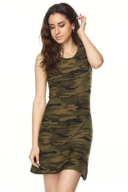 Wholesale Buttery Soft Green Camouflage Criss Cross Strap Mini Dress