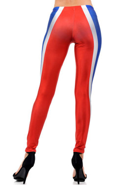 Wholesale Premium Graphic Print Red and Blue Contour Leggings