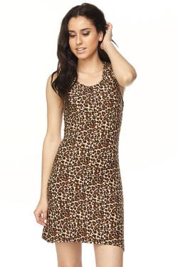 Wholesale Buttery Soft Leopard Print Cross Back Dress