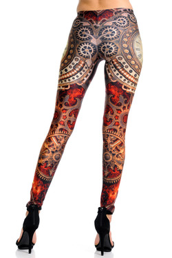 Wholesale Premium Graphic Print Crimson Time Steampunk Leggings