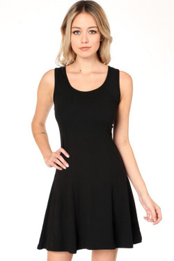 Wholesale Buttery Soft Solid Fit and Flare Dress